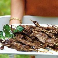 Appetizers - Beef -  Lemon Flank Steak Skewers