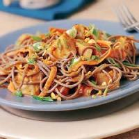 Asian - Chicken -  Spicy Soba Noodles With Chicken In Peanut Sauce