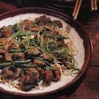 Asian - Pork Hoisin-braised Pork, Mushrooms And Green Beans On Noodles