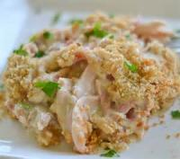 Casseroles - Combination Panfried Chicken And Ham In Cheese Sauce