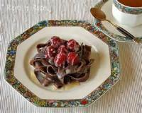 Desserts - Pasta -  Chocolate Pasta In White Chocolate Pudding With Raspberry Sauce