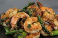 Fishandseafood - Shrimp -  Hot Garlic Shrimp And Asparagus