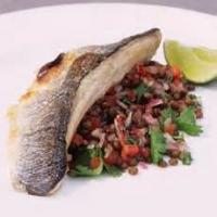 Fishandseafood - Bass -  Sea Bass With Tomatoes And Onions