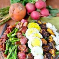 Vegetables - Asparagus -  Asparagus With Black Pepper, Bacon, And Goat Cheese Sauce
