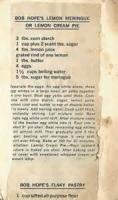 Pies - Lemon -  Bob Hope's Favorite Lemon Meringue Pie