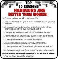 Top 10 Reasons Why A Handgun Is Better Than A Woman